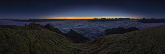 Panorama on the Nockspitze to Sunrise with Fog in the Valley-Niki Haselwanter-Photographic Print