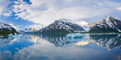 Panorama Scenic of Portage Lake with Icebergs and Chugach Mountains Reflecting, Southcentral Alaska-Design Pics Inc-Photographic Print