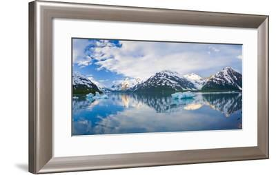 Panorama Scenic of Portage Lake with Icebergs and Chugach Mountains Reflecting, Southcentral Alaska-Design Pics Inc-Framed Photographic Print