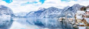 Panorama View of Hallstattersee Lake and Mountain in Daylight with Snow. Landscape View of Famous H