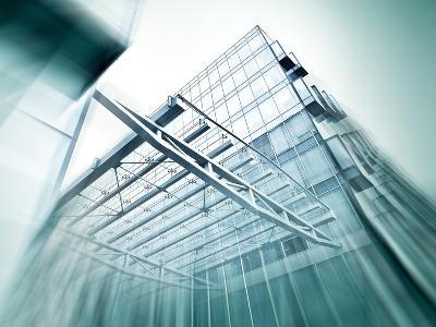 Panoramic and Perspective Wide Angle View to Steel Blue Background of Glass High Rise Building-Vladitto-Art Print
