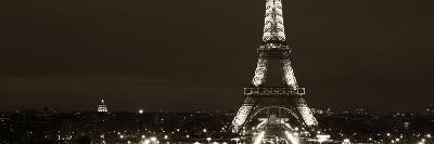 Panoramic Cityscape Paris with Eiffel Tower at Night - Sepia - Tone Photography-Philippe Hugonnard-Photographic Print