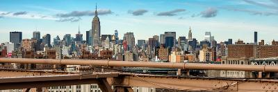 Panoramic Cityscape - View of Brooklyn Bridge with the Empire State Buildings-Philippe Hugonnard-Photographic Print