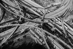 Aerial view of freeway interchange, City Of Los Angeles, Los Angeles County, California, USA by Panoramic Images