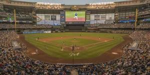 Baseball game at Miller Park, Milwaukee, Wisconsin, USA by Panoramic Images