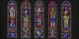 Details of stained glass, the South Rose, Chartres Cathedral, Chartres, Eure-et-Loir, France by Panoramic Images