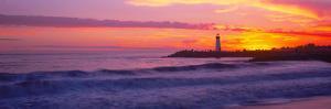 Lighthouse on the coast at dusk, Walton Lighthouse, Santa Cruz, California, USA by Panoramic Images