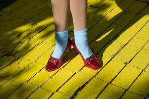Ruby slippers worn by Dorothy Gale, Wizard of Oz Park, Beech Mountain, Yellow Brick Road, North... by Panoramic Images