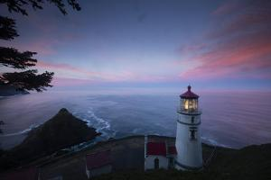 Umpqua River Lighthouse at sunset, Cape Disappointment, Oregon, USA by Panoramic Images