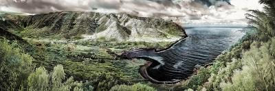 Panoramic Infrared Image of Halawa Valley and Bay at the East End of Molokai Island-Richard Cooke-Photographic Print