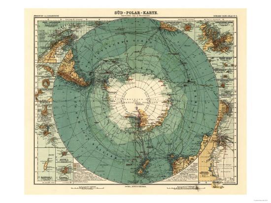Panoramic Map of Antarctica - Anartica-Lantern Press-Art Print