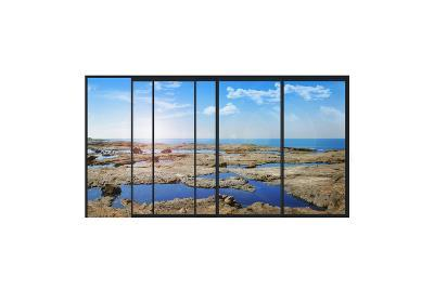 Panoramic Modern Window with a Stones and Sea Landscape- Whiteisthecolor-Art Print
