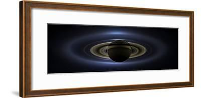 Panoramic Mosaic of the Saturn System Backlit by the Sun