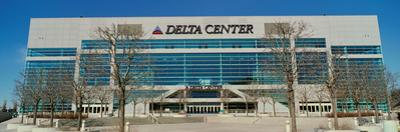 Panoramic of Delta Center building, Salt Lake City, UT