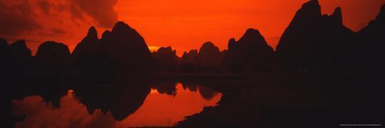 Panoramic of Guilin, Yangshao Li River, Limestone Mountains, China-Bill Bachmann-Photographic Print