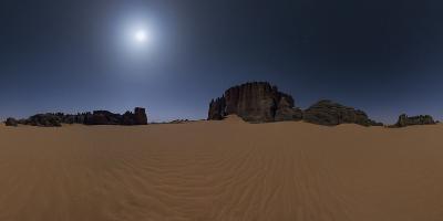 Panoramic of Moonlit Sahara Night with Sand Dunes and Giant Sandstone Cliffs-Babak Tafreshi-Photographic Print