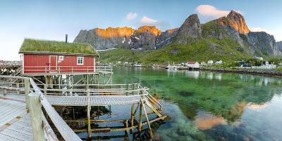 Panoramic of the Fishing Village Surrounded by Sea and Midnight Sun, Reine, Nordland County-Roberto Moiola-Photographic Print