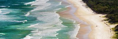 Panoramic Photo of Surfers Heading Out to Surf on Tallow Beach at Cape Byron Bay, Australia-Matthew Williams-Ellis-Photographic Print