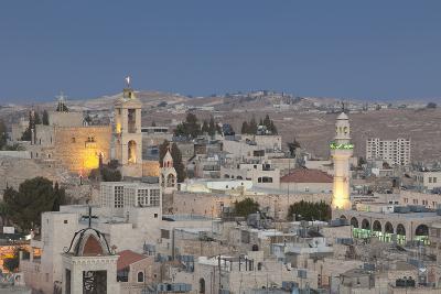 Panoramic Skyline of Bethlehem at Dusk, Palestine--Photographic Print