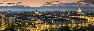 Panoramic View at Dusk, Turin, Piedmont, Italy-Stefano Politi Markovina-Photographic Print