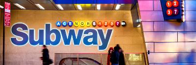 Panoramic View - Entrance of a Subway Station in Times Square - Urban Street Scene by Night-Philippe Hugonnard-Photographic Print