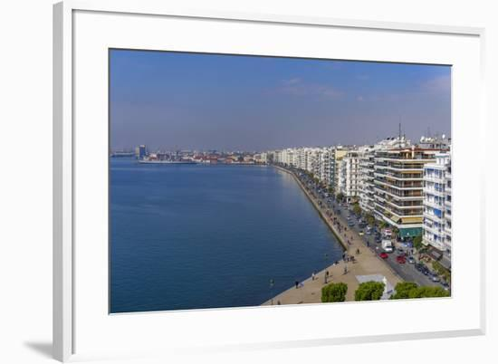 Panoramic view from the city's landmark The White Tower, of historic waterfront up to the port area--Framed Photographic Print