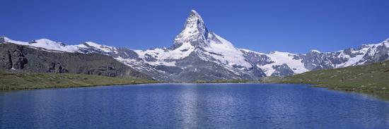 Panoramic View of a Snow Covered Mountain by a Lake, Matterhorn, Zermatt, Switzerland--Photographic Print