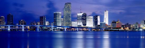 Panoramic View of an Urban Skyline at Night, Miami, Florida, USA-Paula Scaletta-Photographic Print