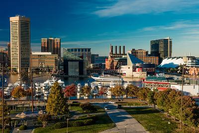 Panoramic view of Baltimore Inner Harbour, Maryland - shot from Federal Park Hill--Photographic Print