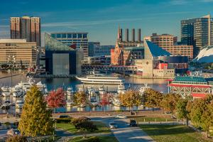 Panoramic view of Baltimore Inner Harbour, Maryland - shot from Federal Park Hill