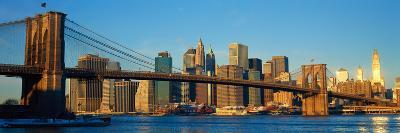 Panoramic View of Brooklyn Bridge and East River at Sunrise with New York City--Photographic Print