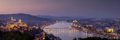 Panoramic View of Budapest and the Danube River in the Evening-Stephen Alvarez-Photographic Print