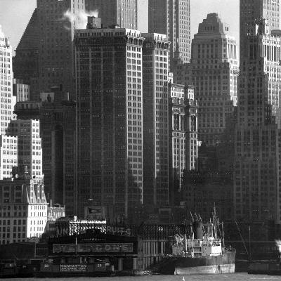 Panoramic View of Buildings in Lower Manhattan Taken from the New Jersey Banks of the Hudson River-Andreas Feininger-Photographic Print
