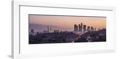 Panoramic View of Downtown Los Angeles at Sunset-Taesam Do-Framed Photographic Print