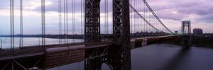 Panoramic View of George Washington Bridge over Hudson River from New York City, Ny