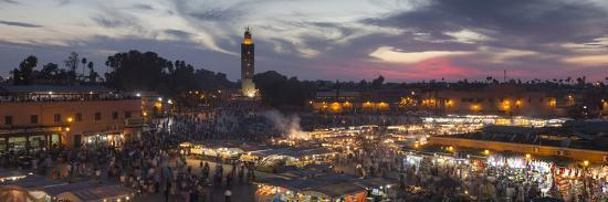 Panoramic View of (Jemaa) Djemaa El Fna Square and Koutoubia Mosque-Stephen Studd-Photographic Print