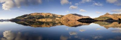 Panoramic View of Loch Levan in Calm Conditions with Reflections of Distant Mountains, Scotland-Lee Frost-Photographic Print