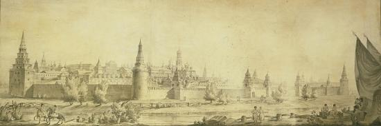 Panoramic View of Moscow Kremlin by the End of the 18th Century, End 1790s-Giacomo Antonio Domenico Quarenghi-Giclee Print