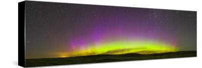 Panoramic View of Northern Lights on the Horizon, Saskatchewan, Canada