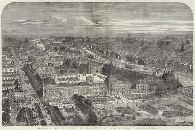 Panoramic View of Paris, with the Louvre and Rue De Rivoli Completed--Giclee Print