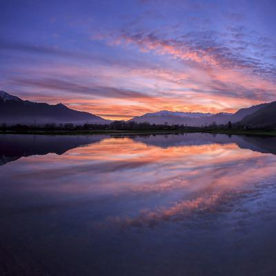 Panoramic View of Pian Di Spagna Flooded with Snowy Peaks Reflected in the Water at Sunset, Italy-Roberto Moiola-Photographic Print