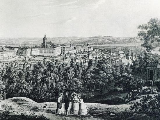 Panoramic View of Prague, Czech Republic 19th Century Engraving--Giclee Print
