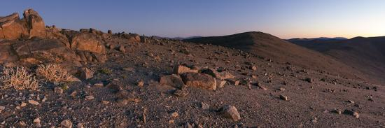 Panoramic View of Scattered Rocks on the Barren Landscape of the Atacama Desert at Dusk-Babak Tafreshi-Photographic Print
