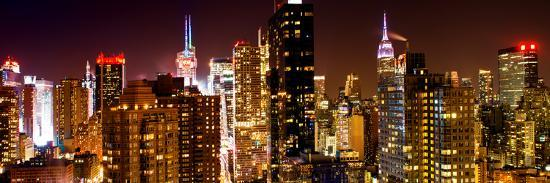 Panoramic View of Skyscrapers of Times Square and 42nd Street at Night-Philippe Hugonnard-Photographic Print