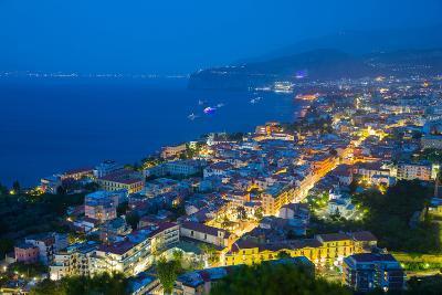 Panoramic View of Sorrento at Night, Sorrento, Amalfi Coast, UNESCO World Heritage Site, Campania-Frank Fell-Photographic Print