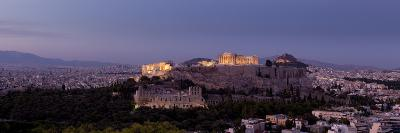 Panoramic View of Sunlight on the Acropolis at Twilight-Stephen Alvarez-Photographic Print