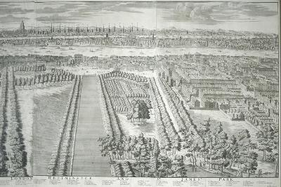 Panoramic View of the City of London and Westminster Showing St James's Park, 1730--Giclee Print