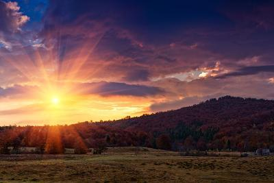 Panoramic View of the Dramatic Sunset in the Autumn Mountains. Colorful Forest on the Slopes. Old F-Volodymyr Martyniuk-Photographic Print