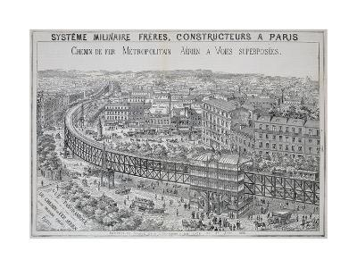 Panoramic View of the Overground Metro in Paris, Illustration from 'Le Metropolitain', May 1885--Giclee Print