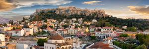 Panoramic View over the Old Town of Athens and the Parthenon Temple of the Acropolis during Sunset